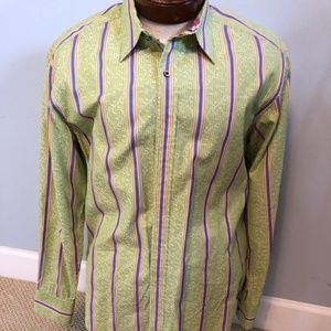 Robert Graham Lime Green and Blue Stripe